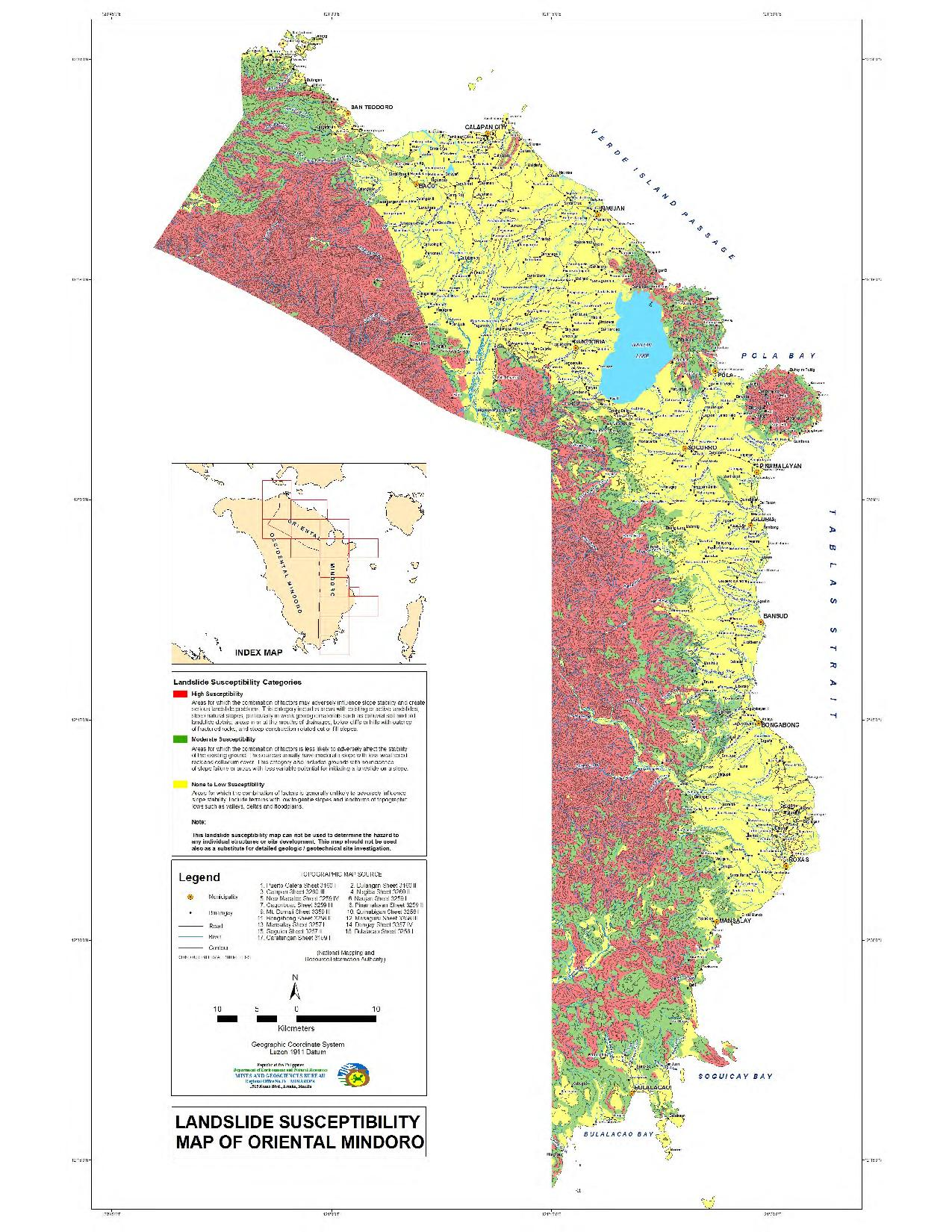 Landslide Susceptibility Map of Oriental Mindoro
