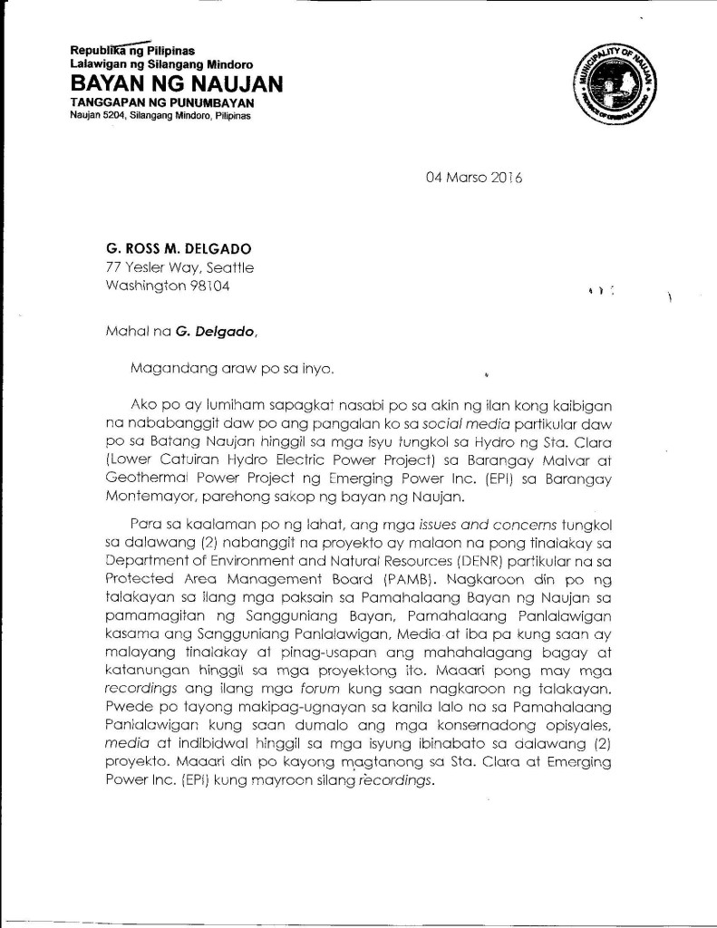 Clarification of Mayor Marcos p1